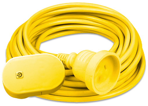 20 Metre yellow extension lead, available at Bunnings